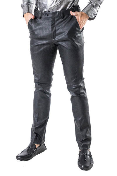 BARABAS Men's Shiny Black Chino Pants CP012