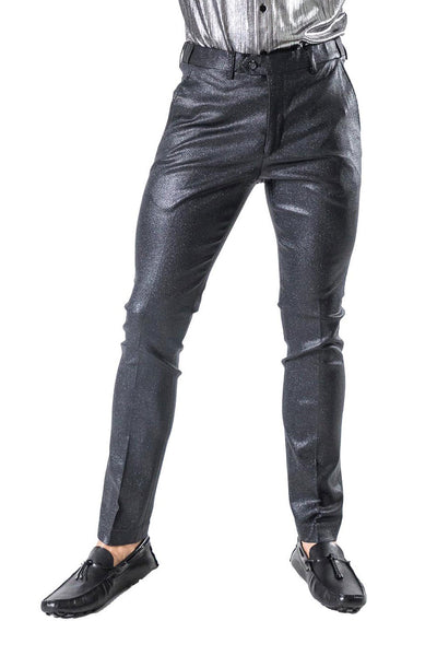BARABAS Men Pants Profit CP015 BlackBarabas Men's Shiny Leather Nylon Button Fastening Stretch Slim Fit Pants CP015