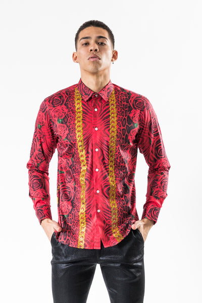 BARABAS Men Shirt Like Lava SP955- ST Red
