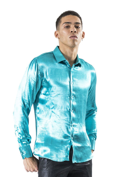 BARABAS Men shinny solid color button down dress Shirts B302