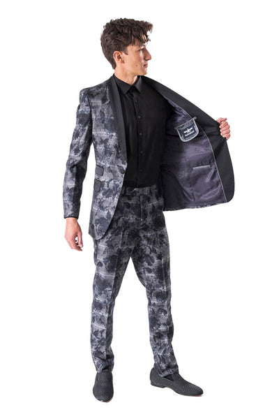 BARABAS men's printed navy black luxury suit BL3033-1