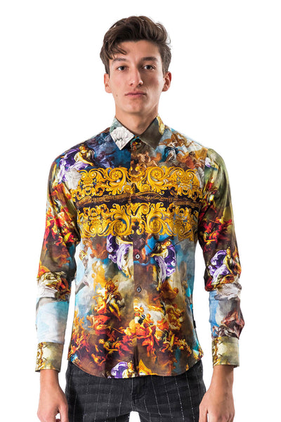 BARABAS Men's Printed Floral Angel Button Down Shirts SP617ST