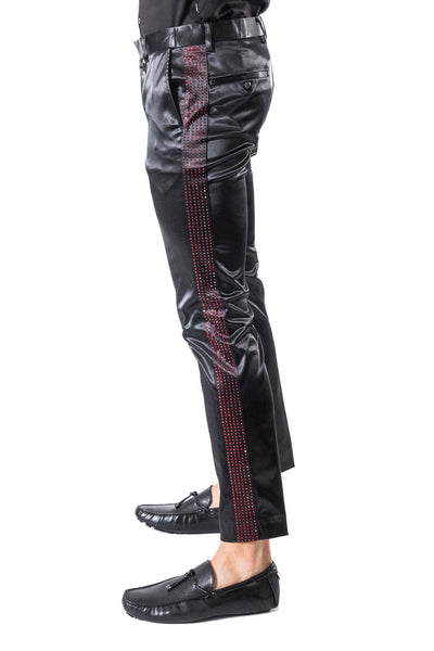 BARABAS Men's Rhinestone Shinny Chino Dress Black Red Pants 1815