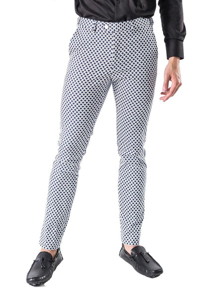 BARABAS men's printed checkered blue navy white chino Pants CP18