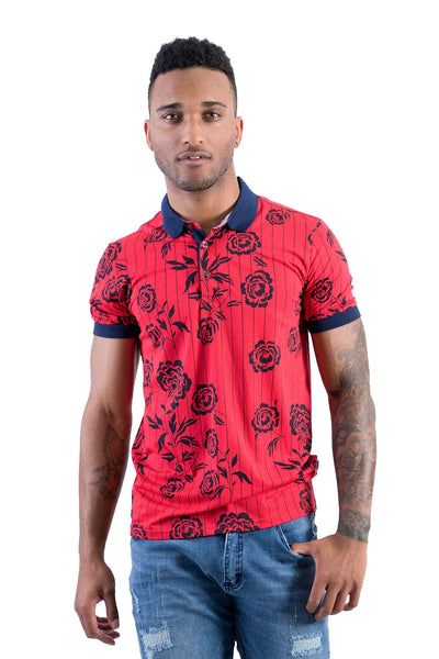 BARABAS Men Polo Printed Shirts Impression in Red P910-RED-S Red