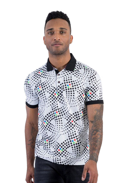 BARABAS Men polka dotted print graphics black white Polo Shirts P912