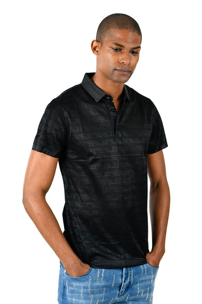 Barabas Men's Solid Color Black Graphic Tee Polo Shirts P917