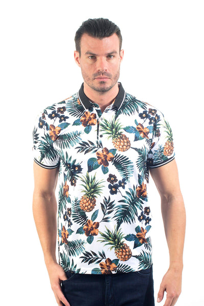 Barabas men's pineapple printed graphic polo shirts P919