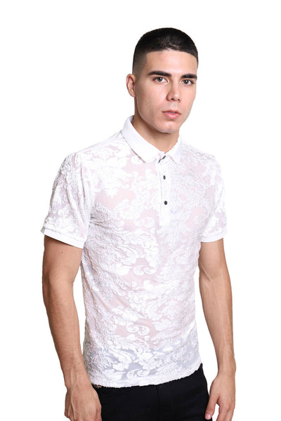 BARABAS Men Polo Printed Shirts Express PB6022 white