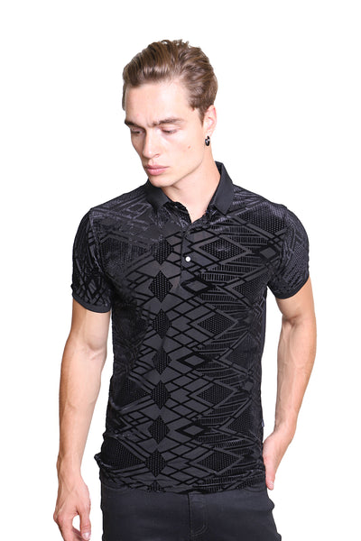 Barabas men's black gematric design texture fabric polo shirts PB6027
