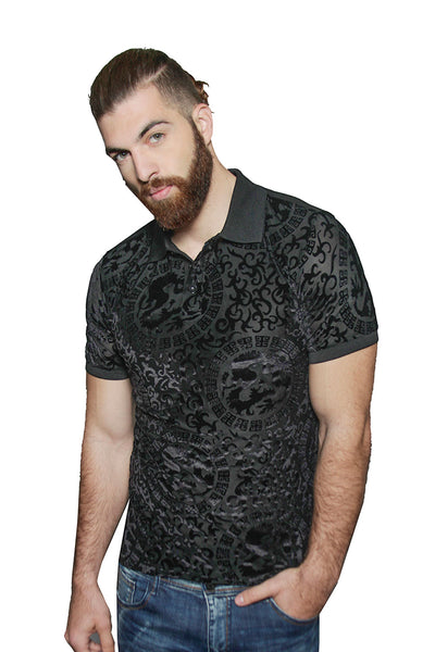 Barabas Men's Dragon Greek Pattern Black Polo Shirts PB604