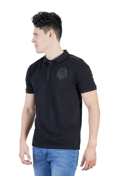 BARABAS Men Polo Printed Shirts Badge PL182 Black