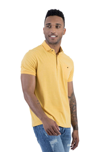 BARABAS Men's Solid Color 365 short Sleeve Yellow Polo Shirts PP804