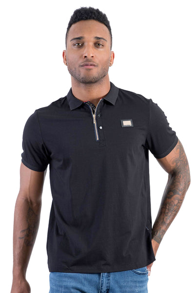 BARABAS men's solid color 365 logo black polo Shirts PP807