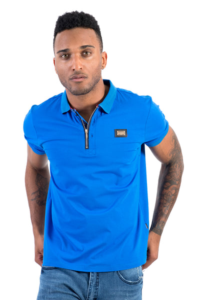 BARABAS men's solid color 365 logo blue polo Shirts PP807