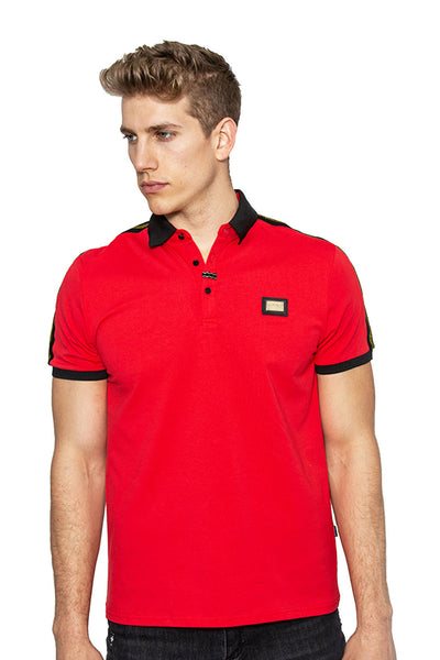 BARABAS Men Polo Printed Shirts Score - White PP809-S-RED Red