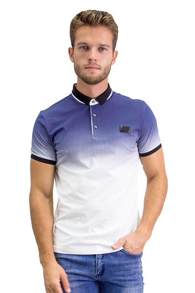 BARABAS Men Polo Printed Shirts Just Slightly PP815 Navy