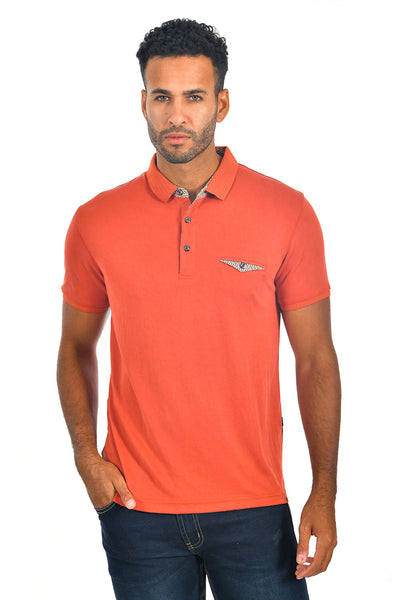 BARABAS Men's solid color Polo shirts with pocket Orange colors PP817