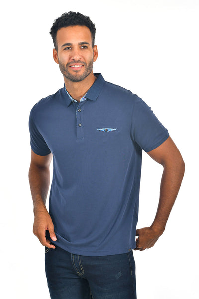 BARABAS Men's solid color Polo shirts with pocket Navy colors PP817
