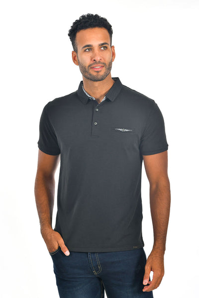 BARABAS Men's solid color Polo shirts with pocket Black colors PP817