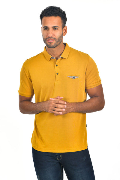 BARABAS Men's solid color Polo shirts with pocket Yellow colors PP817
