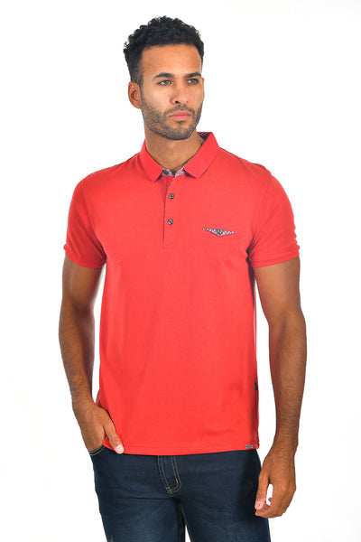 BARABAS Men's solid color Polo shirts with pocket Red colors PP817
