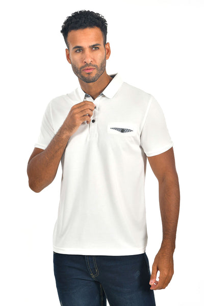 BARABAS Men's solid color Polo shirts with pocket White colors PP817