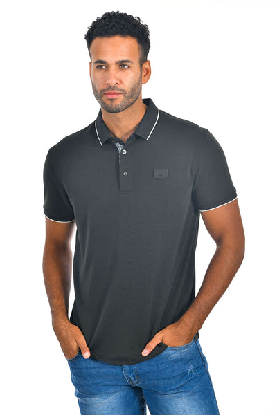 BARABAS Men Black color 365 logo Polo shirts PP821-1