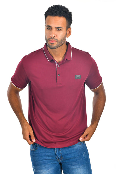 BARABAS Men Burgundy color 365 logo Polo shirts PP821-1