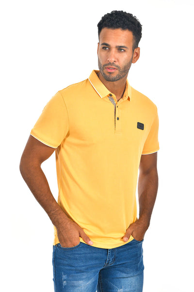 BARABAS Men Yellow color 365 logo Polo shirts PP821-1