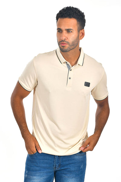 BARABAS Men Cream Nude color 365 logo Polo shirts PP821-1
