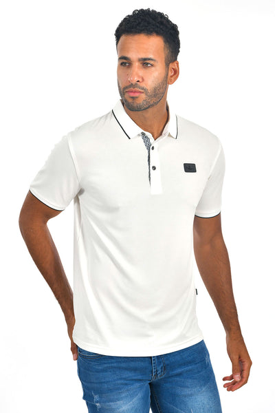 BARABAS Men White color 365 logo Polo shirts PP821-1