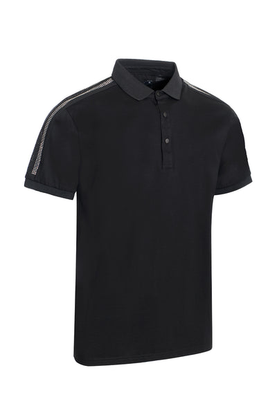 BARABAS men's black rhinestone Silver short sleeve polo shirts PS105