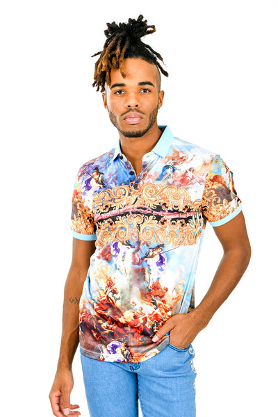 Barabas Men's Printed Angels Floral Short-Sleeve Polo Shirt PSP2004