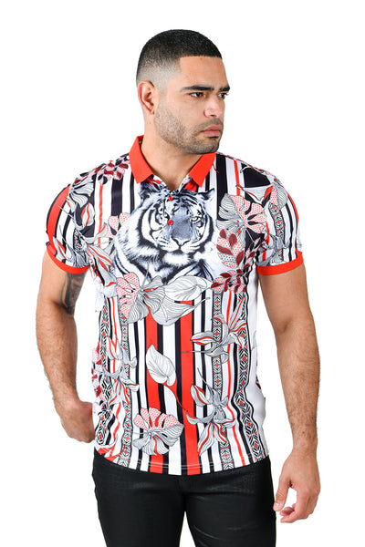 Barabas men's printed tiger floral, striped polo shirt PSP2012