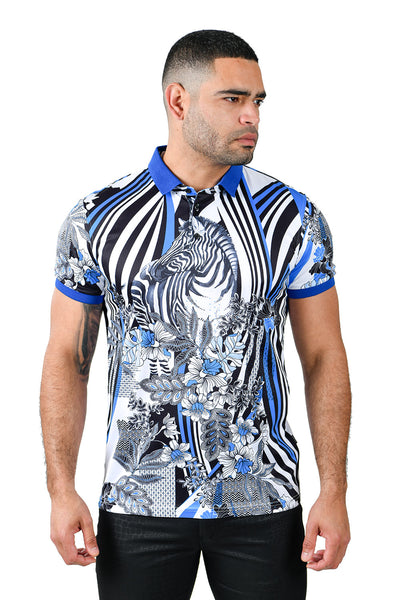 Barabas men's printed zebra floral striped polo shirts PSP2013