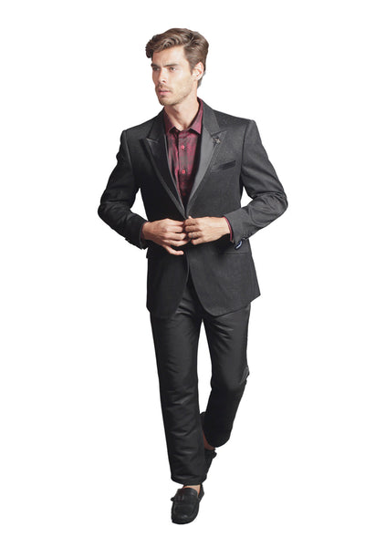 BARABAS Men Blazer Touch of Wine in Black R7001-S-WINE