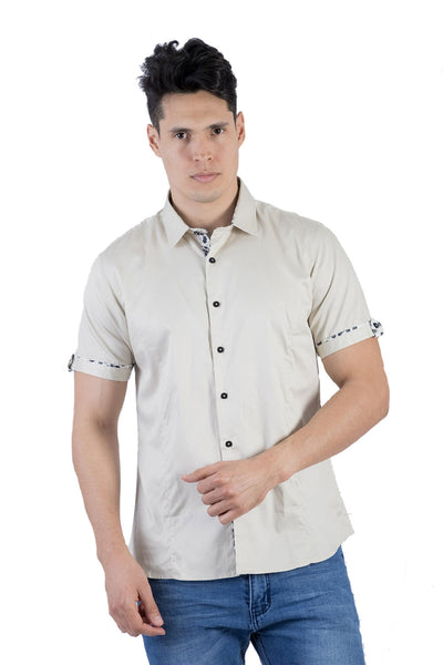 BARABAS Men Short Sleeve Isla Hueso SB2060-BONE-M Beige