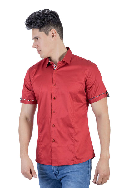 BARABAS Men Short Sleeve Isla Hueso SB2060-BRICK-S Red