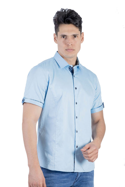 BARABAS Men Short Sleeve Isla Hueso SB2060-SKY-M Light Blue