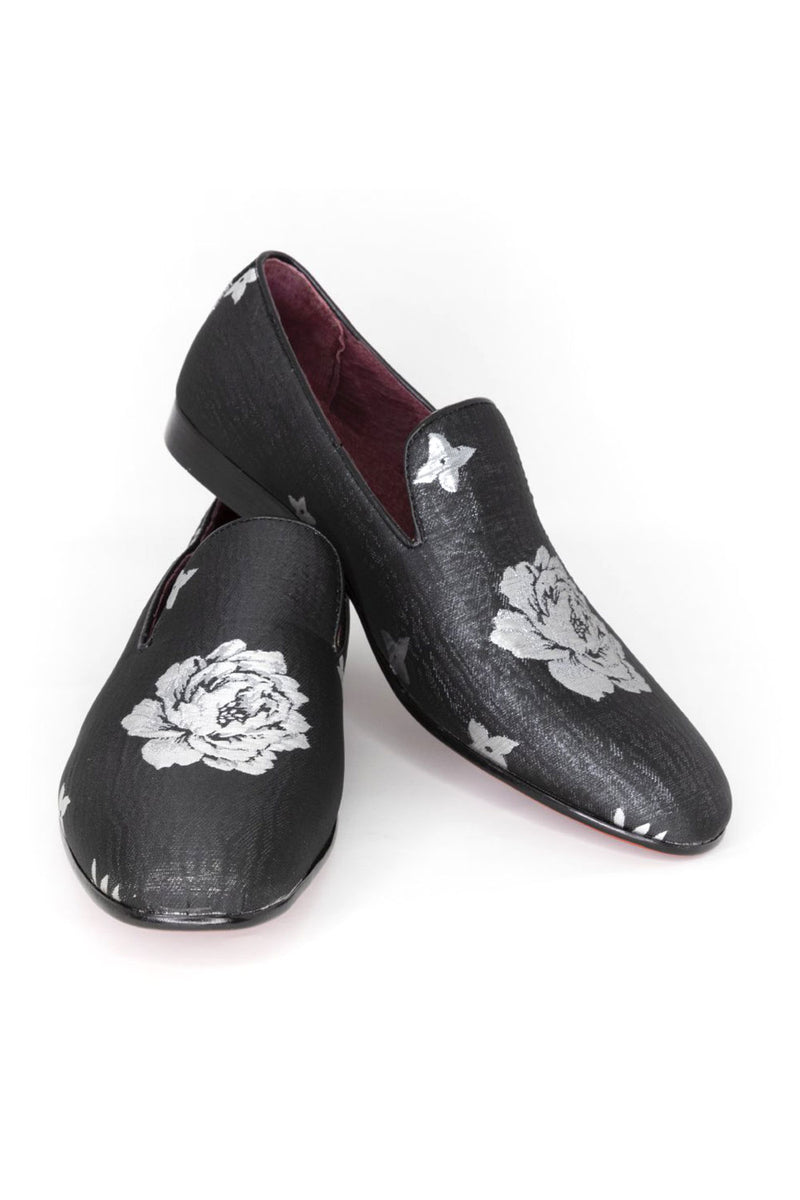 Floral Loafers - Black