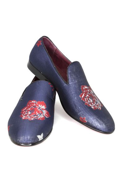 BARABAS Men floral design black red  loafer slip on dress Shoes SH1815