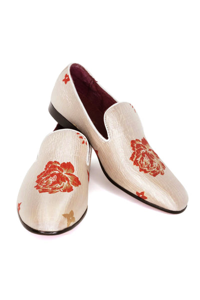 BARABAS Men floral design White red  loafer slip on dress Shoes SH1815