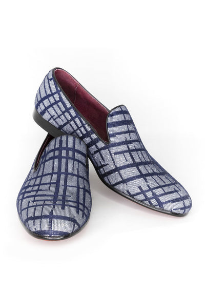 BARABAS Men charcoal grey navy checkered Loafers dress Shoes SH3012