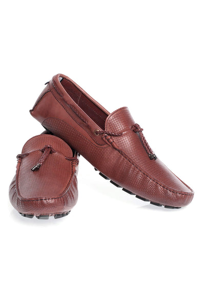 BARABAS Men's leather loafer slip-on burgundy red shoes SH4052