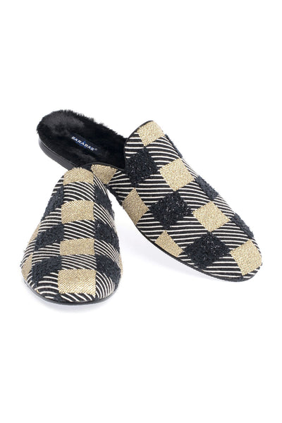 BARABAS Men Checkered Slipper Black and Gold SH4055