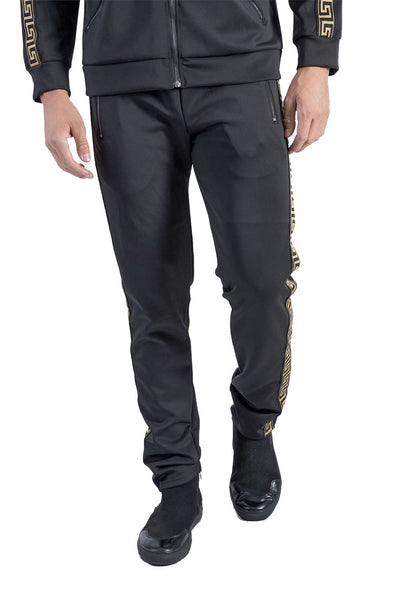 BARABAS Men's Greek Key Pattern  Black Gold Joggers SP100