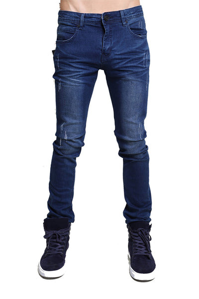 BARABAS men's distressed blue denim Jeans SN8850