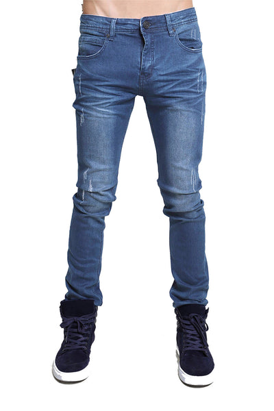 BARABAS men's distressed Light blue denim Jeans SN8850