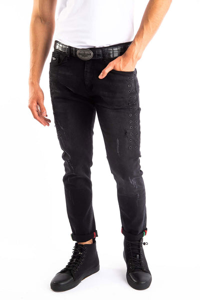 BARABAS Men's Ripped Distressed Black Blue Denim Jeans SN8877